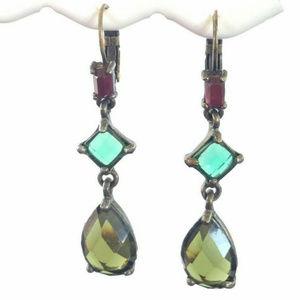 Nina Ricci Dangle Rhinestone Leverback Earrings